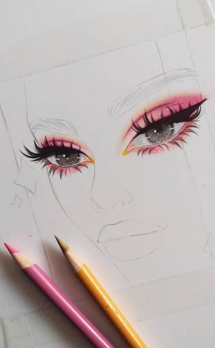 yeux dessin simple des yeux gigantesques verts avec fard à paupières rose et cils énormes, petit nez et grande bouche, dessin hyper realiste