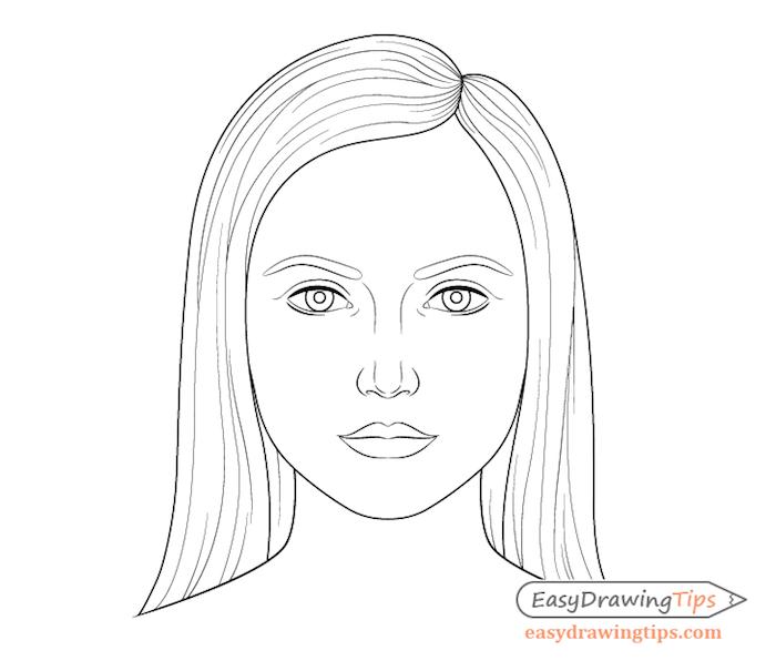 dessin facile a faire pour debutant, comment dessiner une fille aux cheveux longs et des traits de visage simples