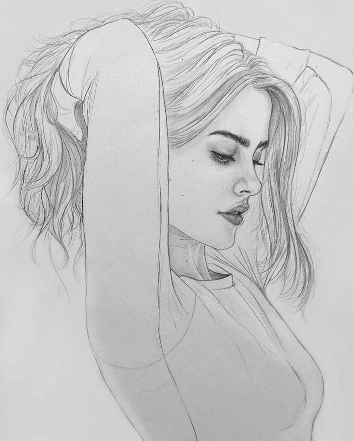 dessin facile a realiser de fille swag aux cheveux longs, image femme de profil, des yeux, bouche et nez proportionnel