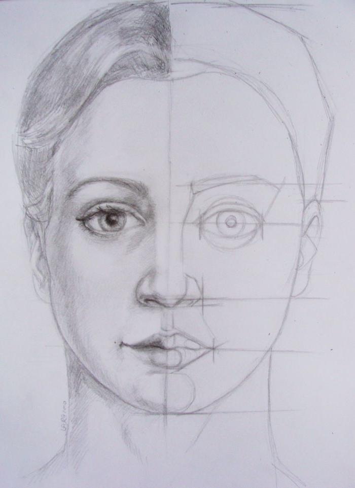 dessin facile a realiser de femme aux cheveux attachés en arrière, idee dessin facile a faire etape par etape