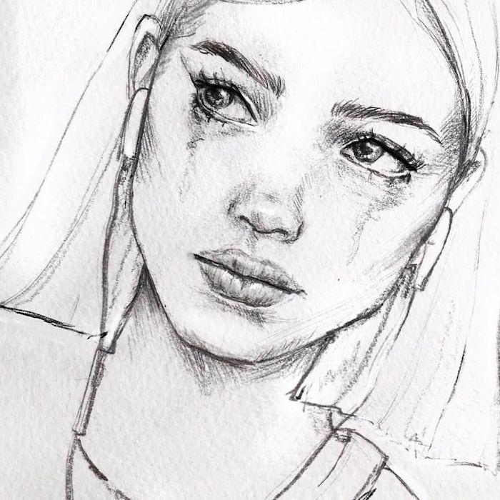 dessin fille en train de pleurer et des écouteurs, idee de fille ado aux yeux clairs, dessin noir et blanc