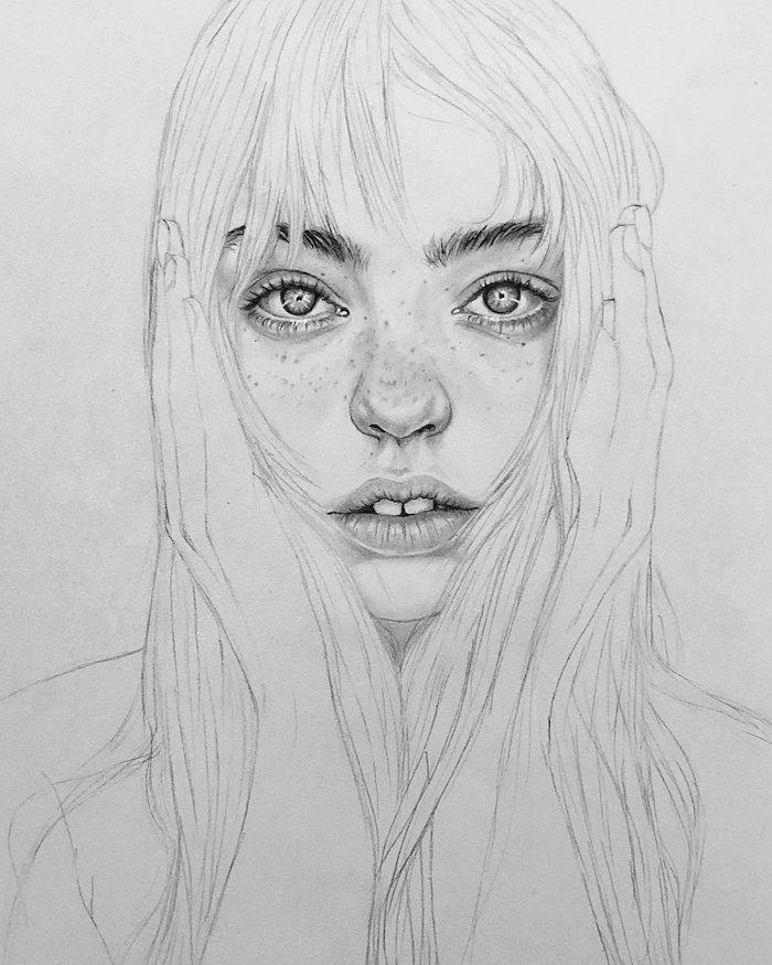 idée de dessin facile à réaliser soi-même, comment dessiner un visage de fille pour débutants