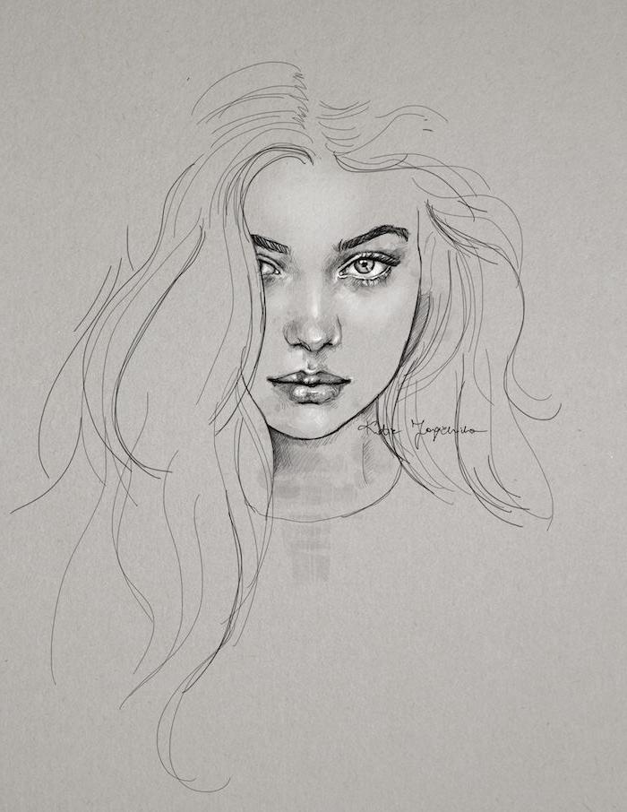 joli dessin fille aux longs cheveux en dégradé, des yeux clairs, nez et bouche proportionnels, dessin fille swag