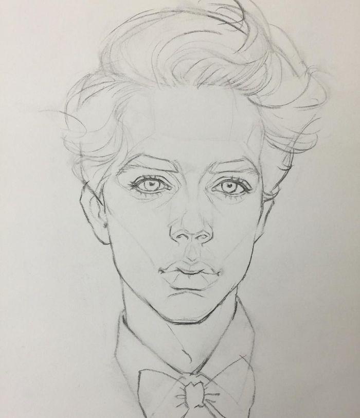 apprendre a dessiner un visage, dessin de garçon simple avec grande bouche et lèvres pulpeuses, des yeux clairs, cheveux en volume