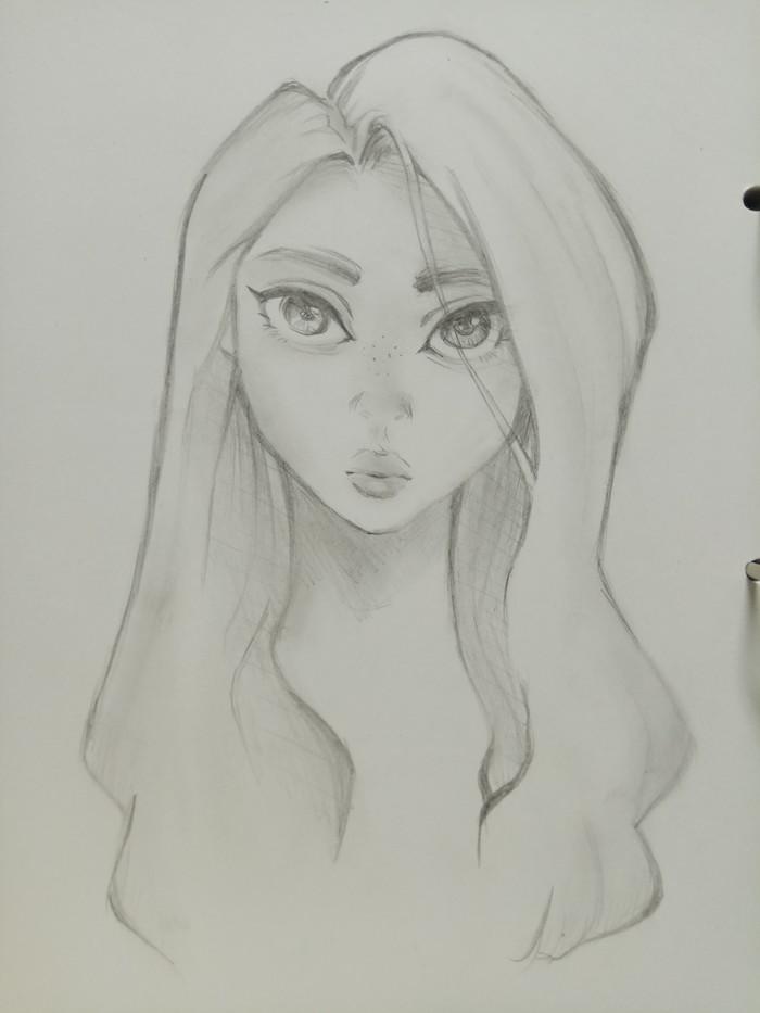 dessin fille manga aux gros yeux et petits nez et bouche, cheveux longs et volumineux avec mèche sur le coté