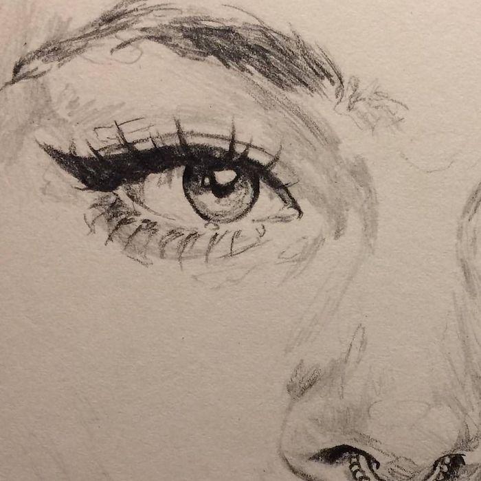 yeux dessin simple, comment dessiner un oeil graphique en noir et blanc et sourcil dense, contouring yeux