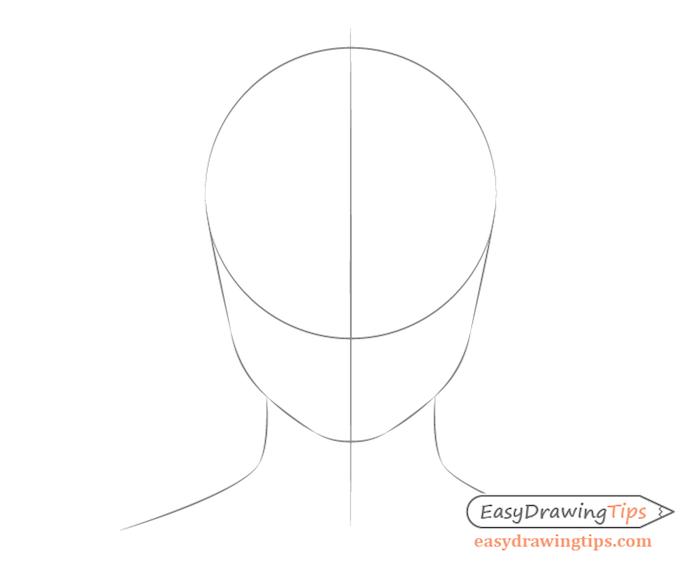idee comment dessiner un visage à partir d un cercle avec deux lignes incurvées pour les machoires