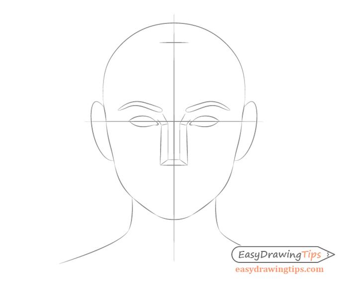 dessiner des yeux en deux fentes en forme d amande, idee dessin visage femme simple et rapide