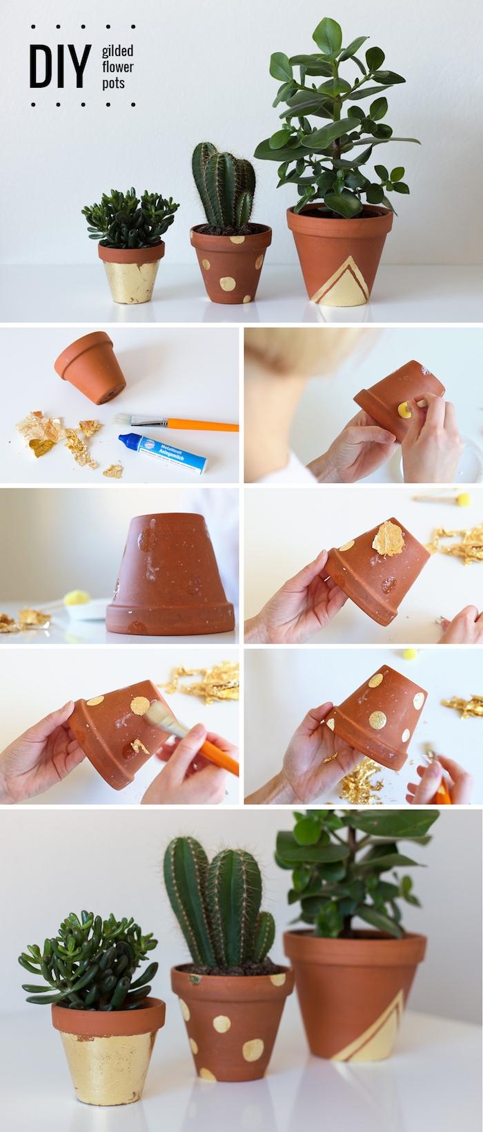 faire des motifs dorés sur la surface d un pot de fleur en terre avec feuille d or, décoration pot de fleur originale
