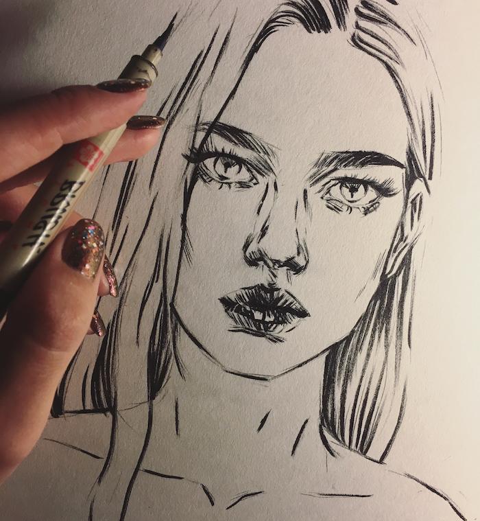 idee pour faire un dessin graphique noir et blanc de fille aux traits lignes noires, beau dessin femme jeune