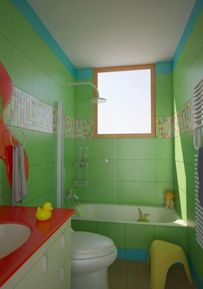 aménagement petite salle de bain pour fille ou garçon, décoration petite salle d'eau verte avec accents en rouge et jaune