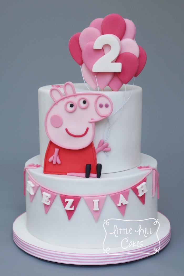 Ballons roses pour l'anniversaire 2 ans thème Peppa Pig, deco gateau peppa pig, gateau anniversaire peppa pig,