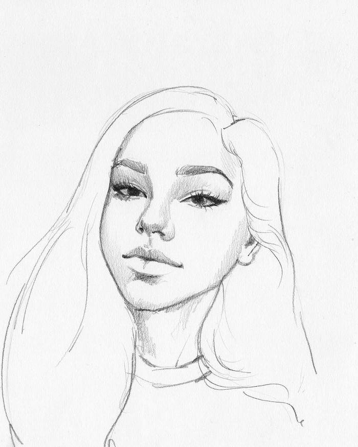 crayon dessin portrait de fille swag avec des yeux en amande, grand nez et bouche, cheveux longs volumineux, traits de visage simples