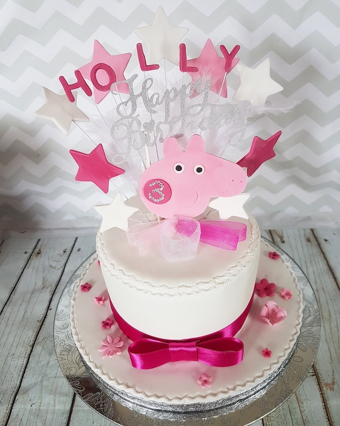 Moderne décoration de gateau anniversaire enfant, gateau anniversaire peppa pig tete