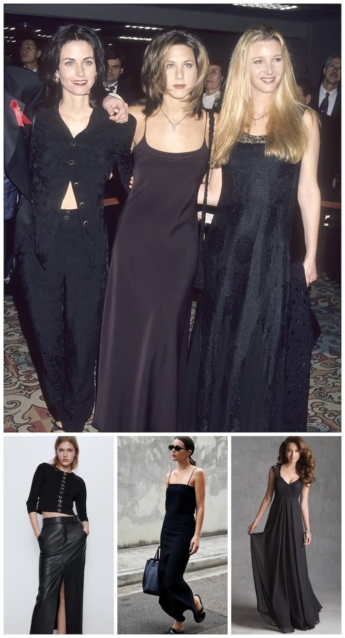 Friends soirée gala avec robes longues noires idée avant apres, déguisement année 90, vetement vintage femme chic tenue