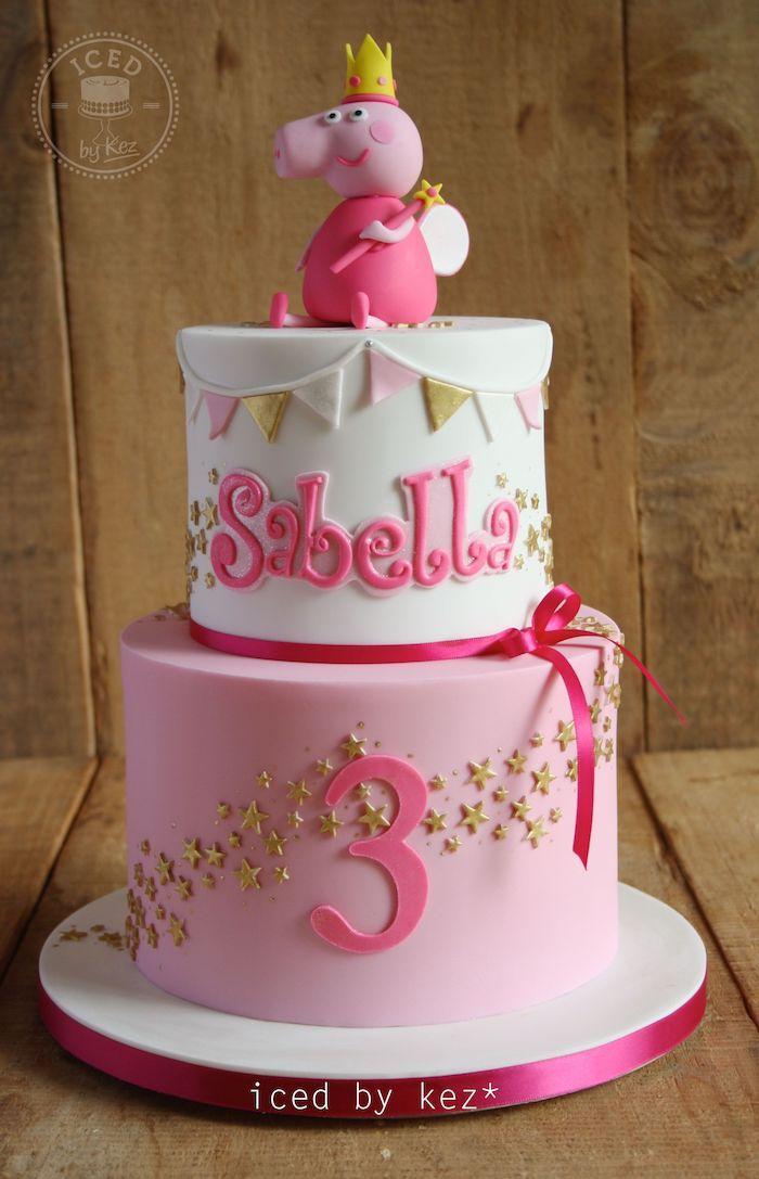 Deux étages de gateau anniversaire 3 ans décoration gateau anniversaire, ganache framboise peppa pig