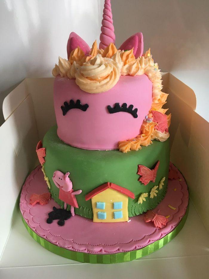 Licorne gateau anniversaire 2 ans en deux etages, gâteau peppa pig chocolat et pate a sucre colore