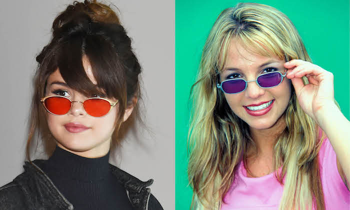 Britney Spears et Selena Gomez le meme style de lunettes colorés, look année 90, vetement vintage femme que prendre de la decade
