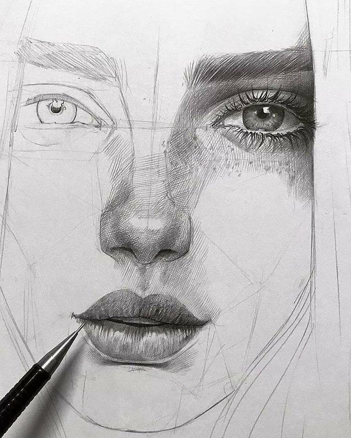 idee de dessin facile a faire etape par etape, esquisse visage femme avec grande bouche, petit nez et des yeux clairs