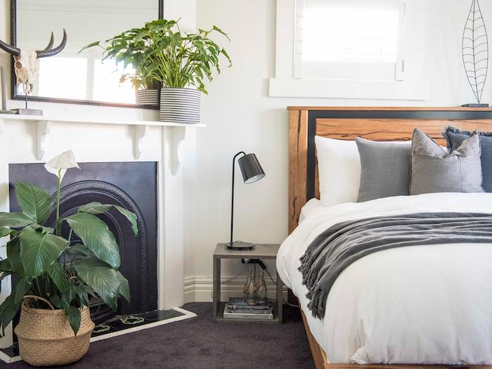 Cheminée chambre à coucher boheme, plante interieur dépolluante et moderne, plante verte sur étagère
