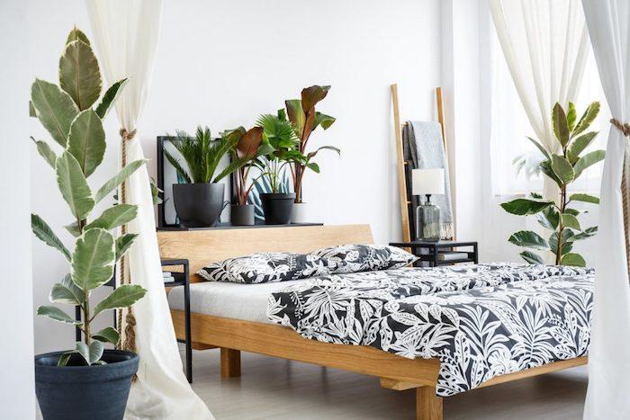 Chambre style scandinave hygge avec plantes vertes, bois et blanc dans l'intérieur, plante verte intérieur, chambre boheme chic déco exotique