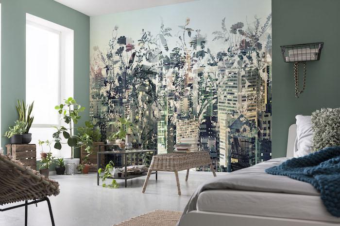 Verte et blanche déco chambre bohème, plante chambre boheme chic, plante d'intérieur dépolluante