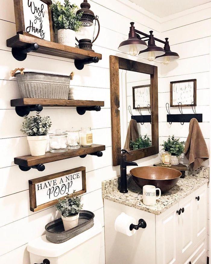 Bois étagères aménagement pour la salle de bain contemporaine, originale idée renouvellement