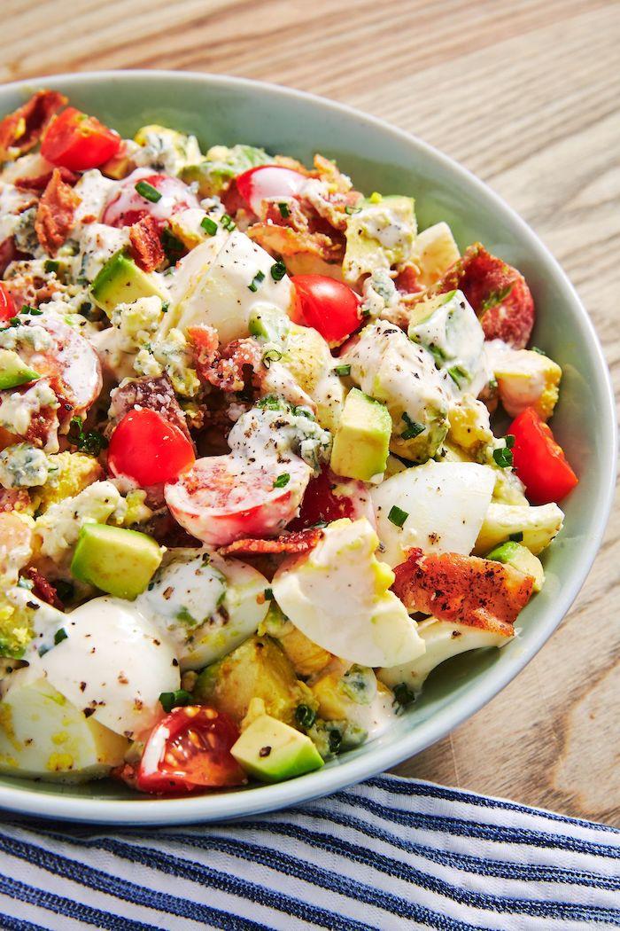 recette salade composée originale avec de l ice berg, tomates cerisé, avocat, oeuf, sauce au yaourt et viande
