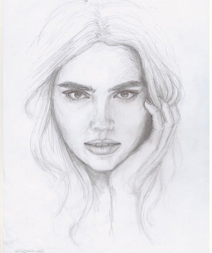 tete dessin fille au crayon avec des yeux expressifs avec sourcils denses et des cheveux longs en dégradé encadrant le visage