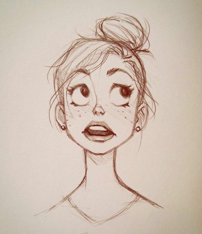 dessin fille manga simple, personnage japonais aux gros yeux et bouche et toit petit nez, cheveux en chignon haut