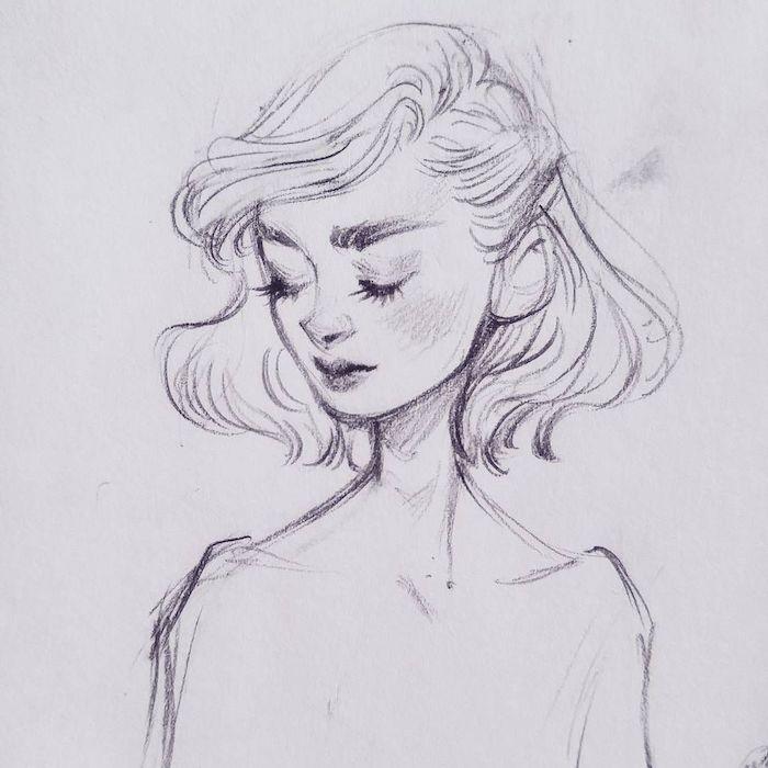 dessin carré mi long bouclé et volumineux, dessin femme vintage mode aux yeux fermés et petite bouche et nez