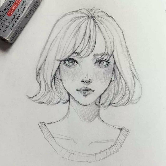 coupe carré long, dessin fille style dessin animé avec frange longue, des yeux clairs enormes, petit nez et bouche