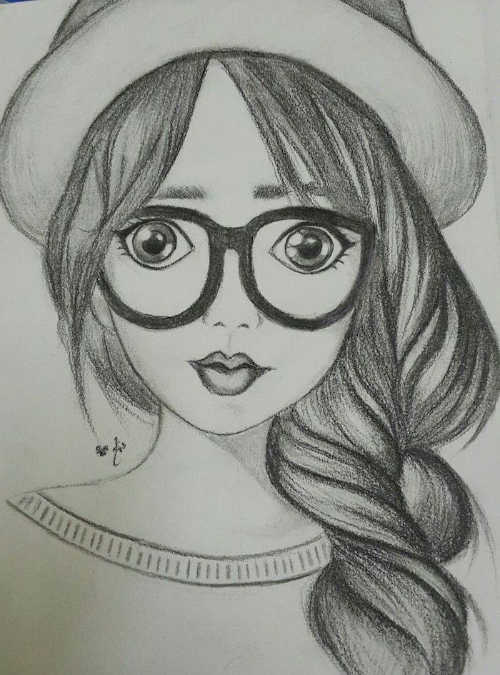 dessin de fille avec une grande tresse de coté et meches rebelles, chapeau melon, lunettes de vue enormes, dessin simple a realiser