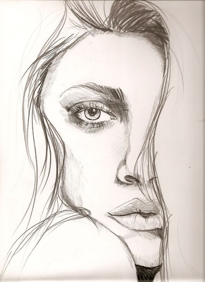 dessin femme facile de visage à moitié caché par une mèche de cheveux, comment dessiner un oeil, bouche levres pulpeuses