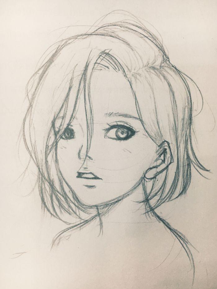 dessin simple manga de petite fille aux yeux soulignés, petites bouche et nez et des cheveux mi longs aux mèches rebelles