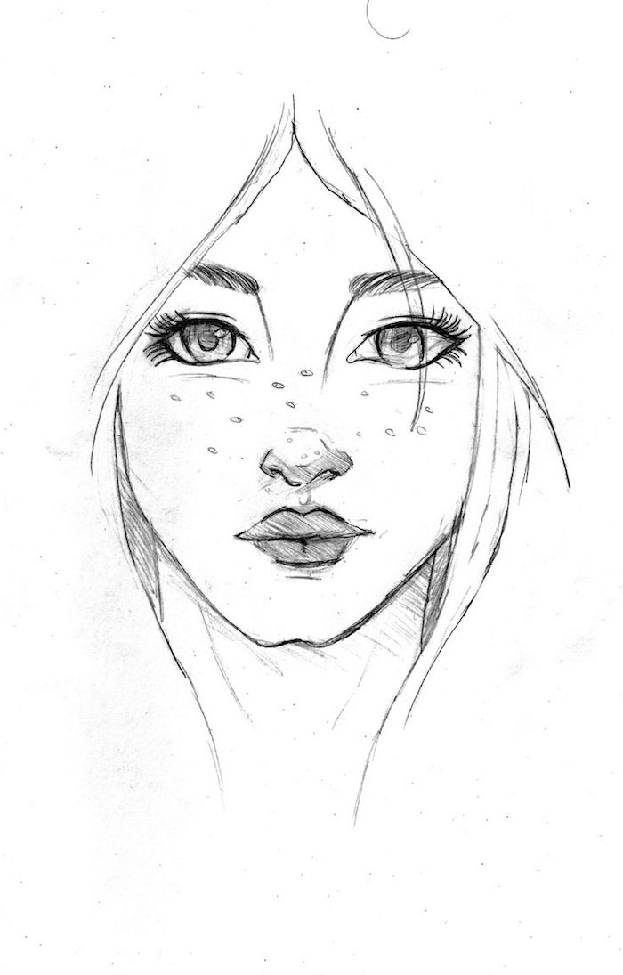 simple dessin noir et blanc de visage de fille aux traits simples, des yeux énormes, petit nez au dessus de bouche aux levres pulpeuses
