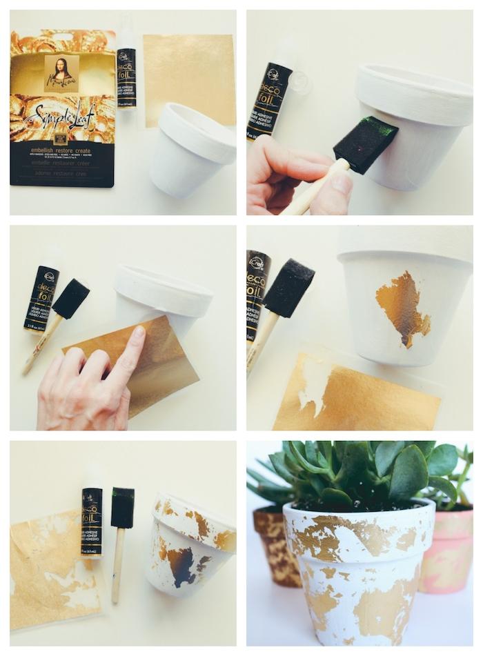 des motifs dorés pour decorer un pot de fleur en feuille d or sur surface blanche, decoration de jardin a faire soi meme
