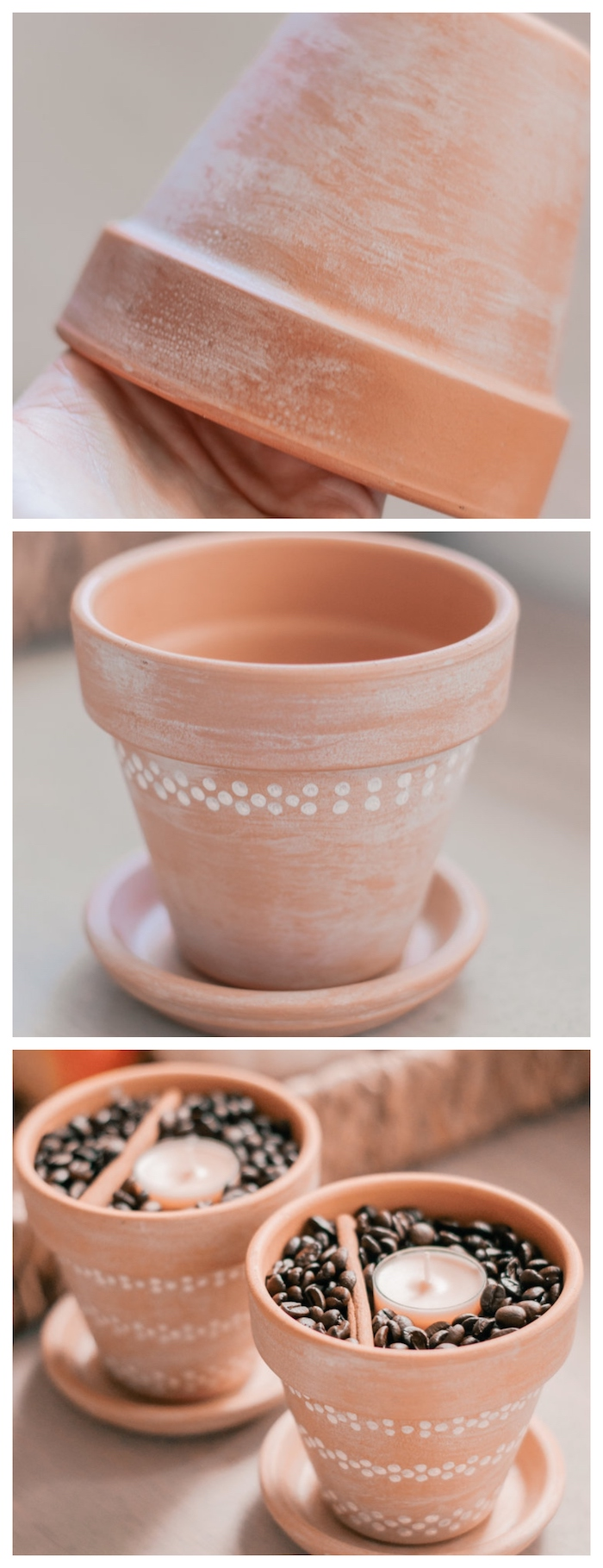porte bougie diy fabriqué dans un pot de terre cuite recyclé, creation avec des pots de fleurs originale, café, cannelle et bougie