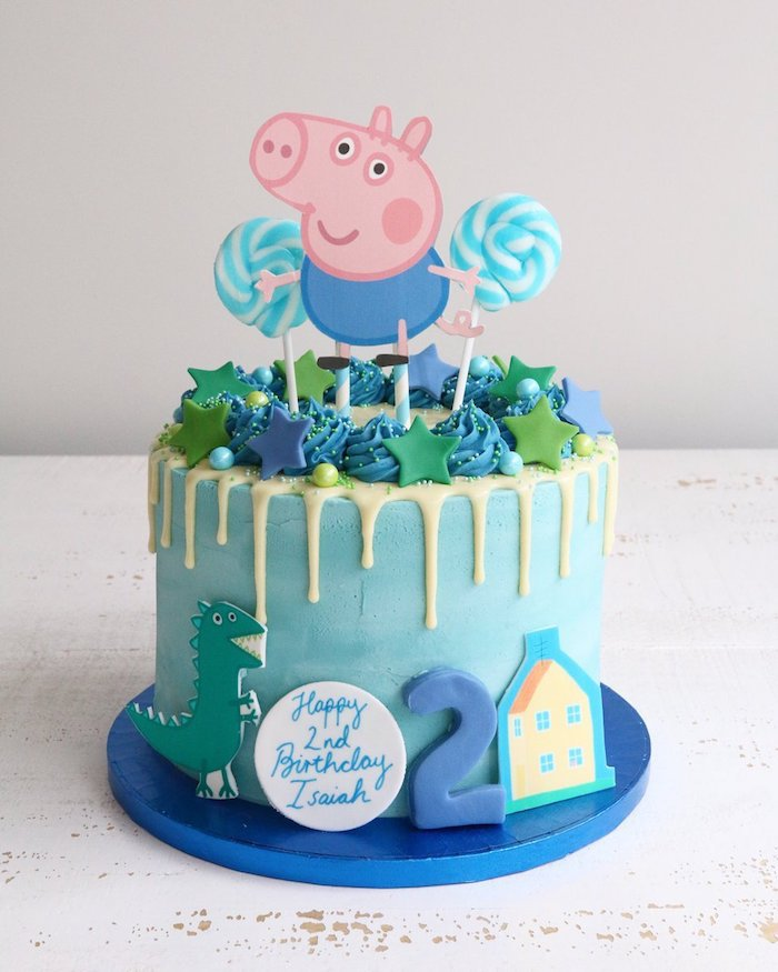 Peppa pig série animé, gateau bleu avec le frère de Peppa - George dessiné, idée deco gateau peppa pig, gateau anniversaire 2 ans garçon