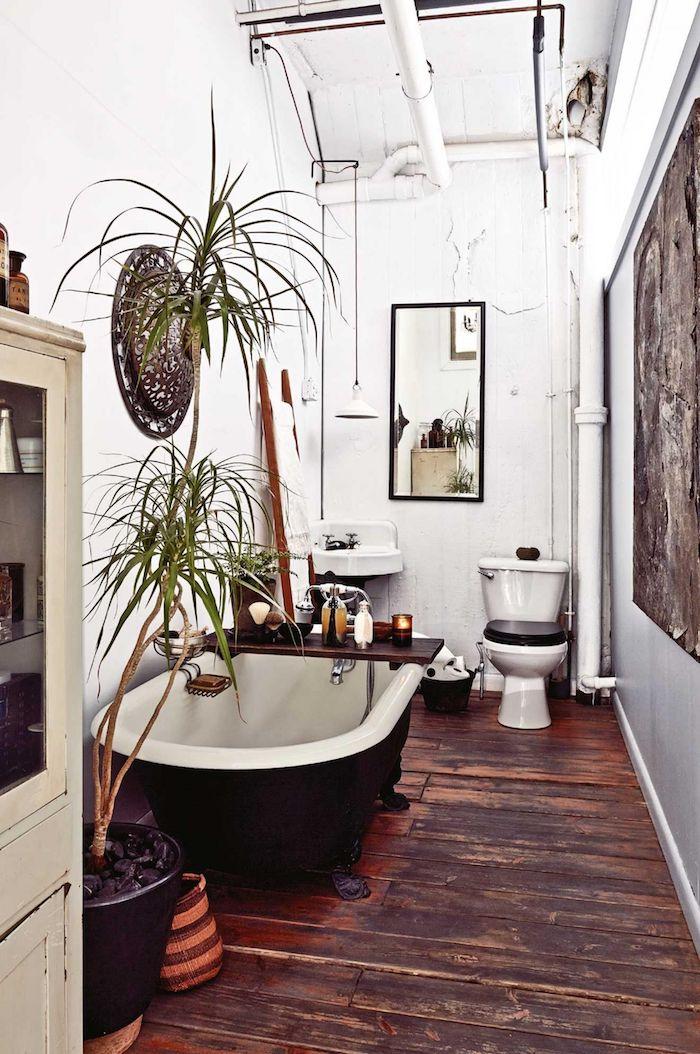 Baignoire vintage idee de salle de bain, peinture et étagères pour le mur salle de bain, palme haute