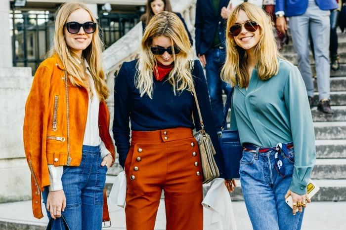 comment bien s'habiller femme, style vestimentaire femme au travail inspiration années 70, look casual chic en jeans et chemise