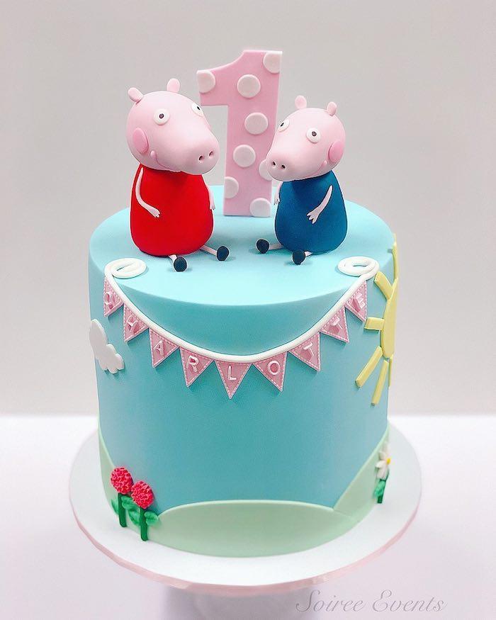 Comment décorer un gâteau 1 ans, premier anniversaire au thème peppa pig idées, gateau d anniversaire enfant, image peppa cochon rose
