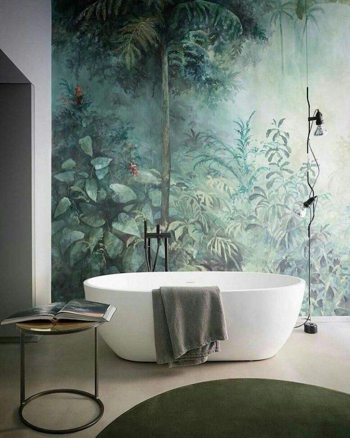 Papier peinte photo dessin de jungle, tendance salle de bain, decoration murale moderne baignoire harmonie