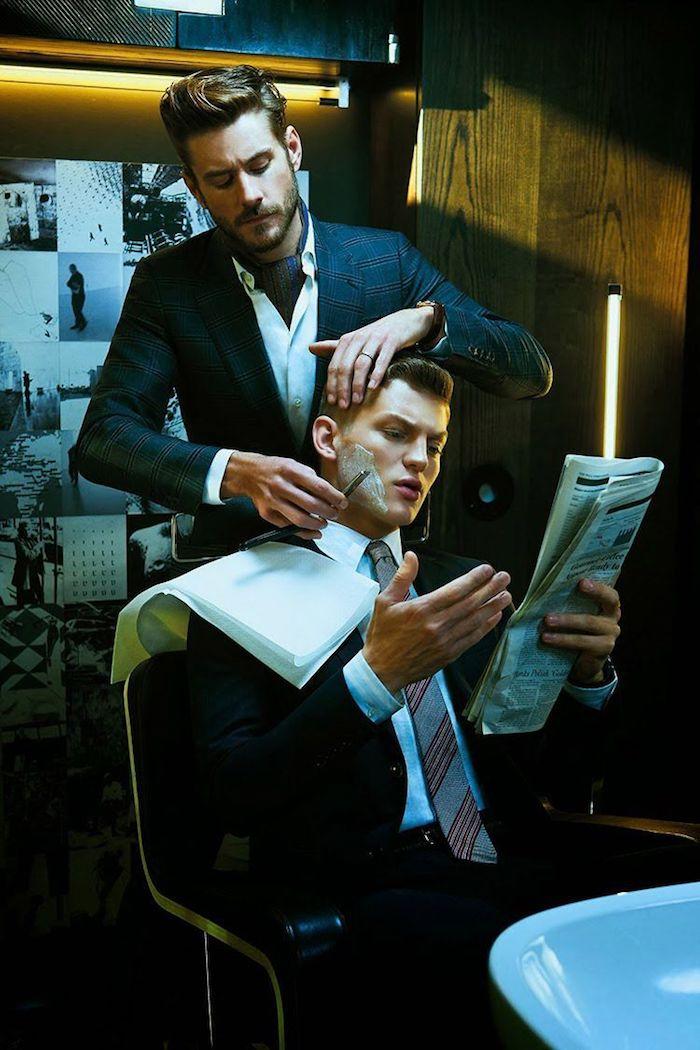 Homme chez le barbier, comment s'habiller aujourd hui, devenir un homme bien habillé en costume