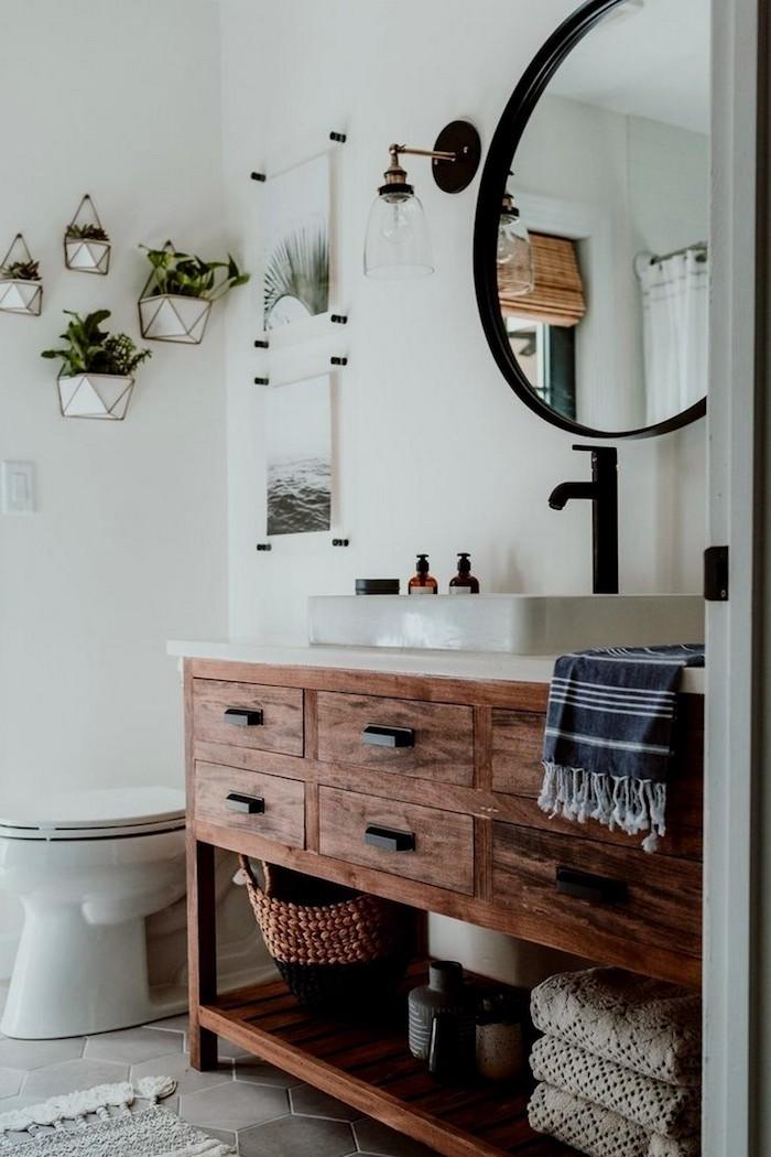 Meuble lavabo bois, idée aménagement salle de bain, modele de salle de bain, miroir rond