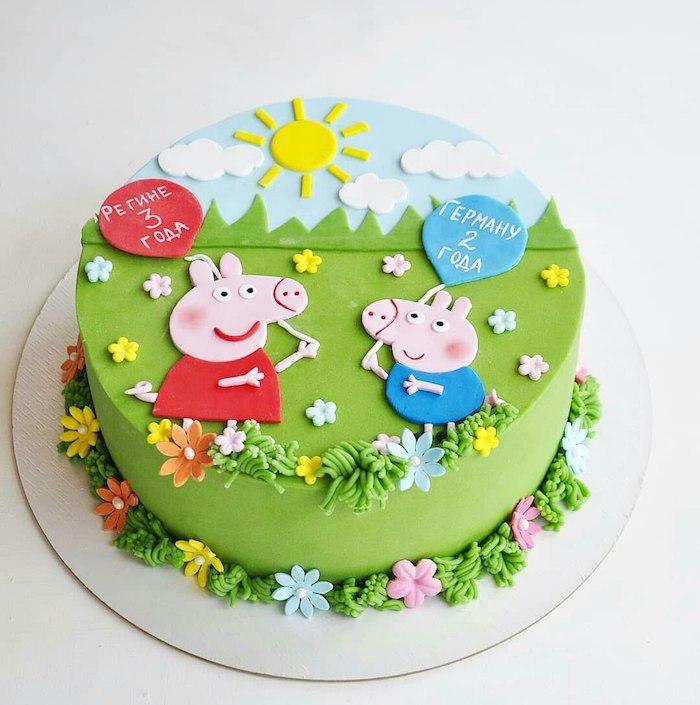 Coloré gateau anniversaire 3 ans, gateau d anniversaire enfant, pique nique nature soleil fleurs decoratives