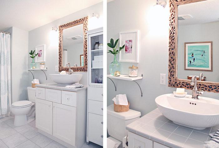 Blanche et très simple décoration murale salle de bain, idée aménagement salle de bain