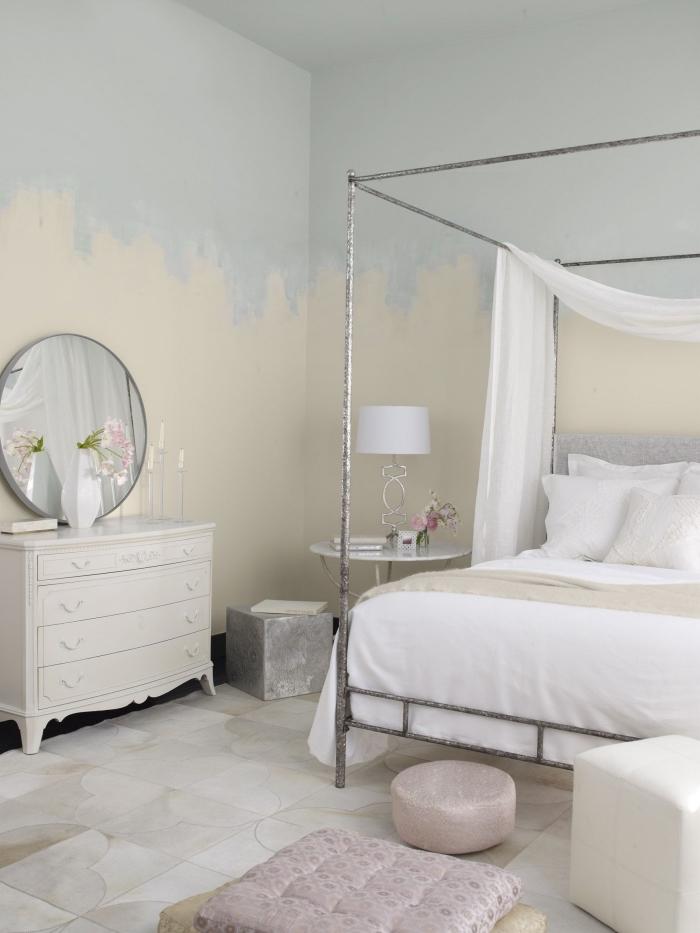 quelles couleurs pour une chambre à coucher de style retro chic, fabriquer une tete de lit facile avec peinture murale