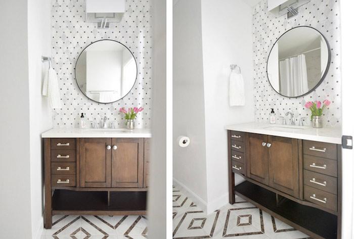 Carrelage dots dorés, miroir ronde, idee deco salle de bain, les plus belles salles de bain tendance