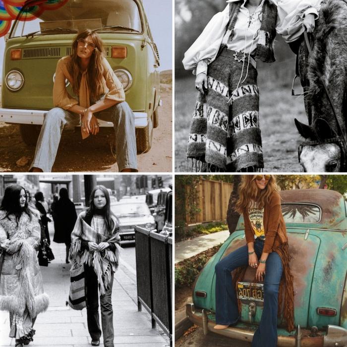 look femme hippie en jeans taille haute et t-shirt avec gilet long à franges, idée de mode années 70 hippie pour femme